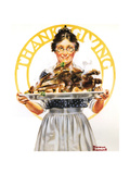 Thanksgiving (or Woman Holding Platter with Turkey) Giclee Print by Norman Rockwell