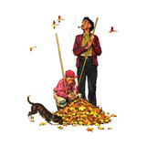 Grandpa and Me: Raking Leaves Impression giclée par Norman Rockwell