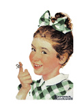 Girl with String Giclee Print by Norman Rockwell