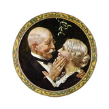 Under the Mistletoe (or Elderly Couple under Mistletoe) Giclee Print by Norman Rockwell