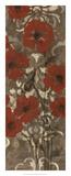 Poppies on Damask II Premium Giclee Print by Jennifer Goldberger