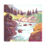 Painted Landscape of Stream Rushing over Rocks Prints