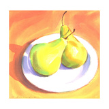 Two Pears on Plain White Plate Poster
