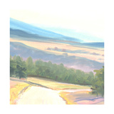 Tranquil Painted Landscape with Distant Mountains Prints