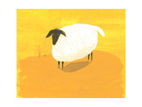 Stylized Sheep Standing on Yellow Texture Premium Giclee Print