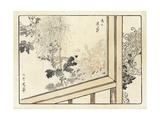 View Through Screen Door of Stylized Flowers Premium Giclee Print