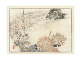 Japanese Flower Illustration on Ocean Tide Landscape Premium Giclee Print