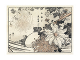 Stylized Flowers and Leaves with Bamboo Handled Shovel Premium Giclee Print