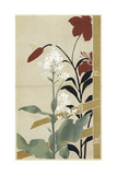 Watercolor of Japanese Flowers with Bamboo Prints