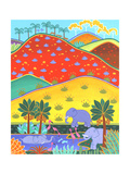 Elephants in Lake Beneath Colorful Rolling Hills Prints