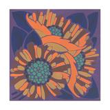 Art Deco-Style Flowers with Orange Petals Art