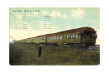 Conductor Standing Beside Train on Tracks Prints