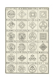 Line Art Thumbnails of Squares with Cylinders and Scroll Finials Poster
