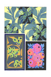 Multiple Stylized Painted Floral Patterns Print