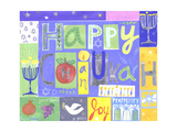 Collage with Menorahs, Pomegranates, Stars, and Happy Chanukah Lettering Prints
