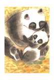 Mother Panda Bear Holding Her Cub on Orange Background Posters