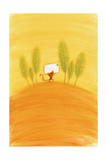 Tiny Cat Carrying Stamped Envelope Past a Row of Trees Print