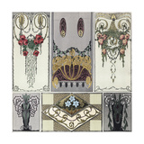 Decorative Panels with Scrollwork Vines and Hanging Floral Arrangements Posters