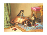 Ornery Kittens with Resting Dog Posters