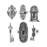 Decorative Lock and Key with Door Nob Illustrations Poster