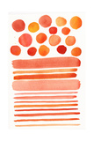 Circles and Stripes in Shades of Orange and Pink Plakat