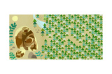 Mama Bear and Cubs with Abstract Pattern of Trees Posters