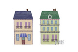 Two Houses with Wrought Iron Elements Posters