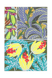Stylized Leaves with Fruits and Floral Patterns Prints