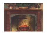 Lit Fireplace with Wooden Mantel Posters