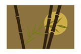 Bamboo Stalks and Branch in Front of Sun Art