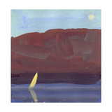 Impressionist Painting of Sailboat on Water Láminas