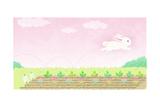 White Bunny Bounding Through Carrot Patch Prints