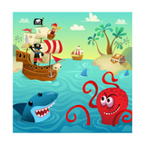 Pirate Ship with Shark and Octopus in Water with Treasure Prints