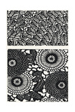 Two Patterns of Black and White Flowers and Leaves Prints