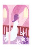 Girl in White Kneeling in Prayer on Balcony Prints