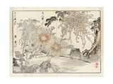 Stylized Japanese Flowers with Fishing Basket Premium Giclee Print