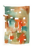Abstract Watercolor Pattern in Orange and Teal Affiche