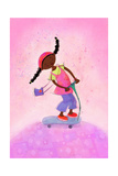 African-American Girl Happily Riding Scooter Poster