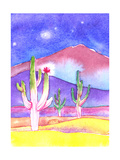 Three Cacti Together in the Middle of the Desert at Night Posters