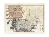 Stylized Flowers on Bamboo Trellis Premium Giclee Print