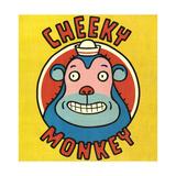 Monkey Wearing Hat with Cheeky Monkey Lettering Plakat