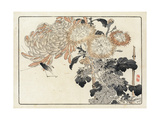 Stylized Japanese Flowers with Insect Illustration Premium Giclee Print