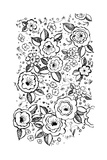 Black and White Flowers and Flower Buds Art
