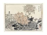 Stylized Japanese Flowers Wtih Bridge in Background Premium Giclee Print