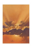 Beautiful Sunset in Orange Sky Background with Flying White Bird Prints