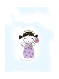 Girl Angel with Star Halo Holding a Flower on Cloud Premium Giclee Print
