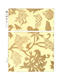 Gold Woodblock Print of Abstract Flowers Premium Giclee Print