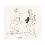 Line Art Rabbits Walking with Backpacks Prints