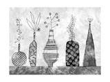 Graphic Grayscale Vases Prints