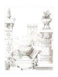 Decorative Architecture and Columns with Flower Vases Prints